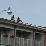 The Sun Volts Unlimited crew installs the mounting racks on the roof.